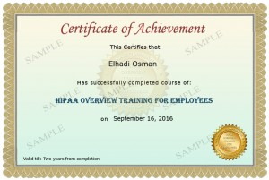 HIPAA Training Sample Certificate